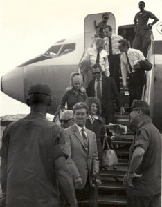Roy Acuff USO Group arriving in Vietnam