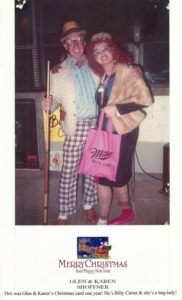 """Glen & Karen's Christmas Card one year (""""It's really our Halloween costumes, but a niece dared us to send it out"""")"""